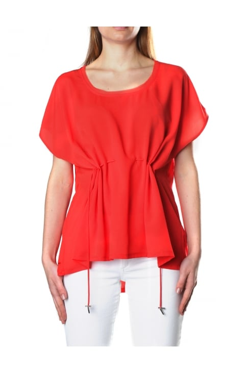 Classic Crepe Women's Drawstring Waist Top Sunset Wave