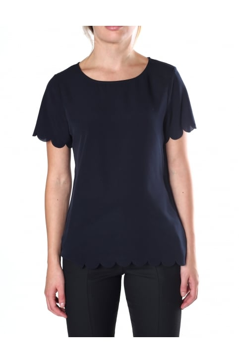 Classic Crepe Women's Scalloped Top