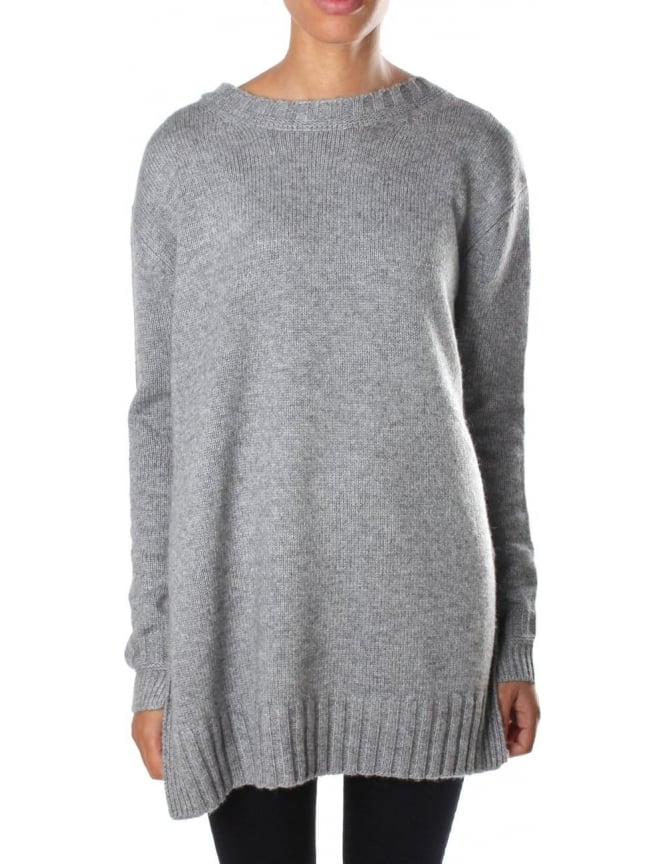 French Connection Core Cashmere Blend Women's Round Neck Knit Grey Marl