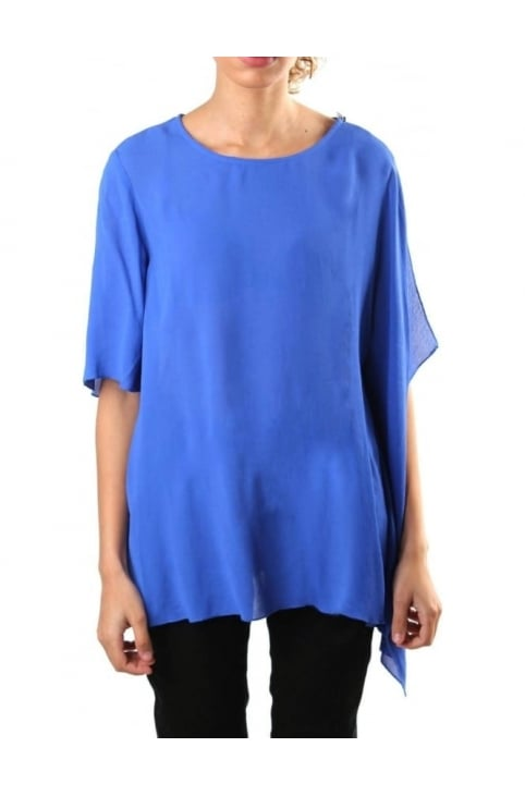 Horizon Women's Draped Georgette Top Blue