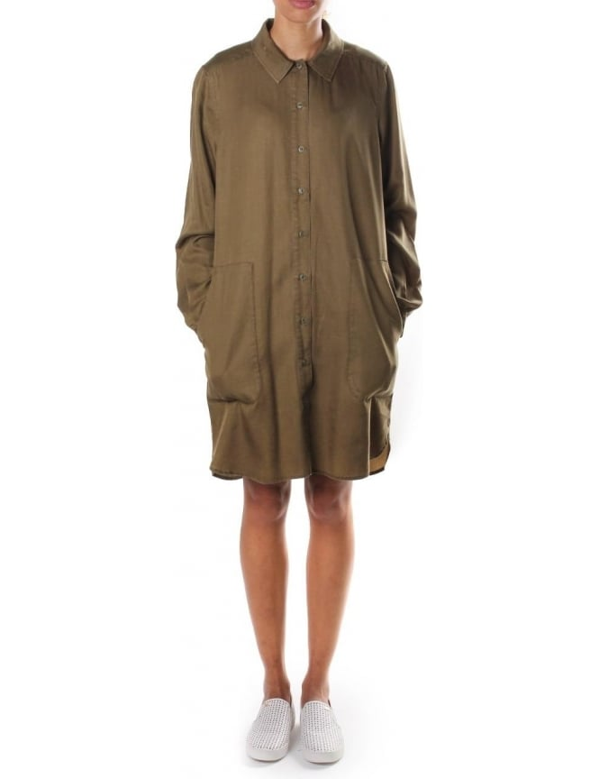French Connection Military Tencel Women's Long Sleeve Shirt Dark Olive