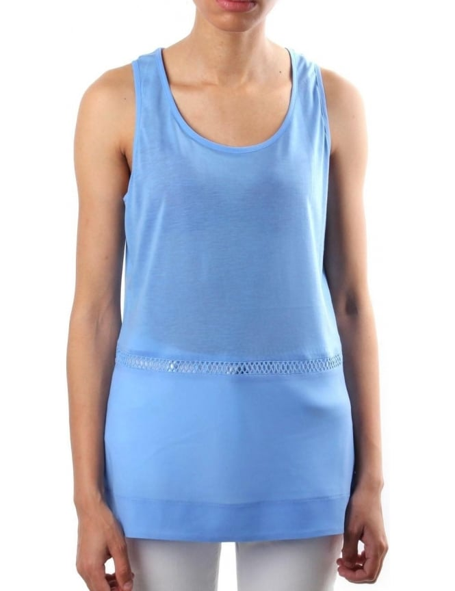 French Connection Plain Polly Women's Round Neck Vest Top Blue
