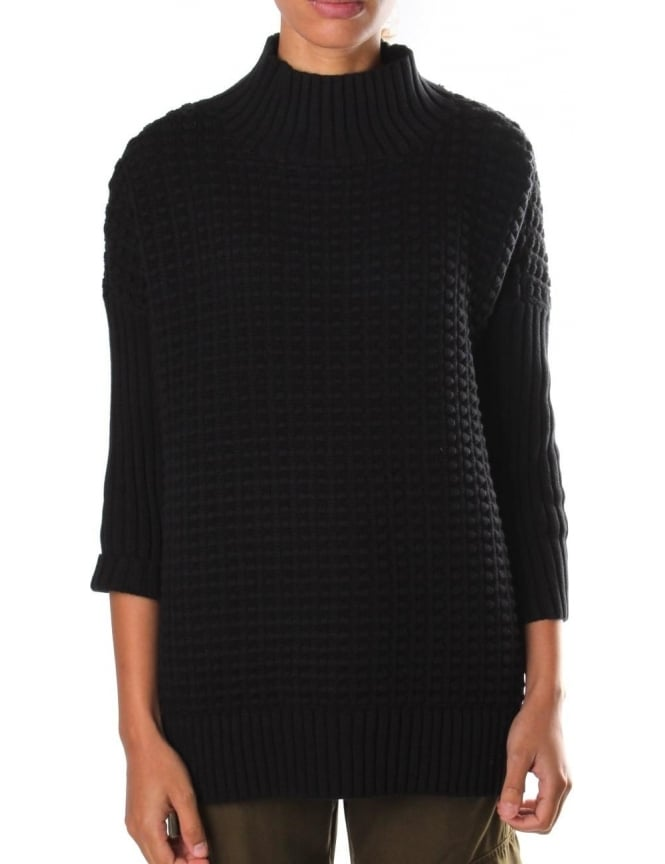 French Connection Popcorn Mozart High Neck Knit Black