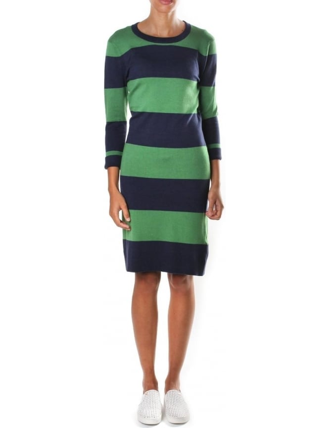 French Connection Rugby Stripe Women's Crew Neck Knit Nocturnal/Juniper Green