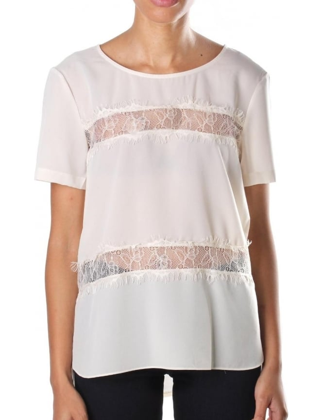 French Connection Short Sleeve Women's Round Neck Top Cream