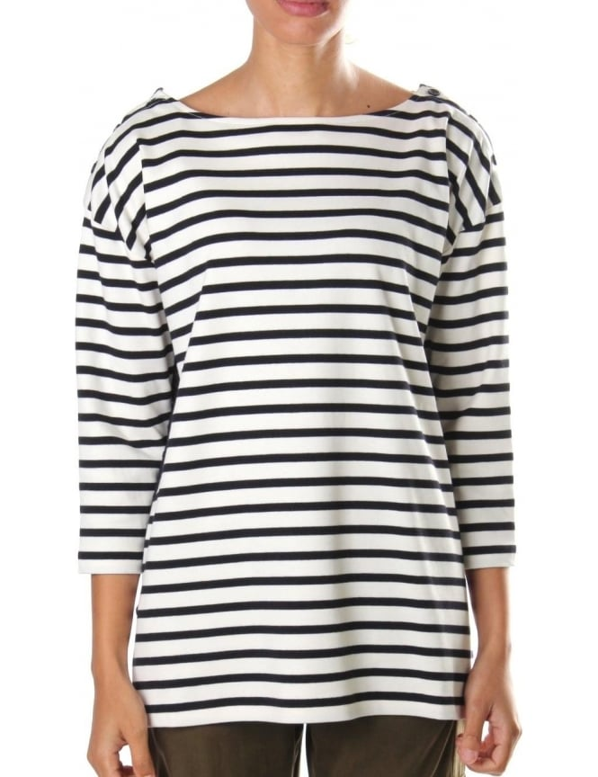 a4fd4095498 French Connection Stripe Women s Long Sleeve Tee White Navy