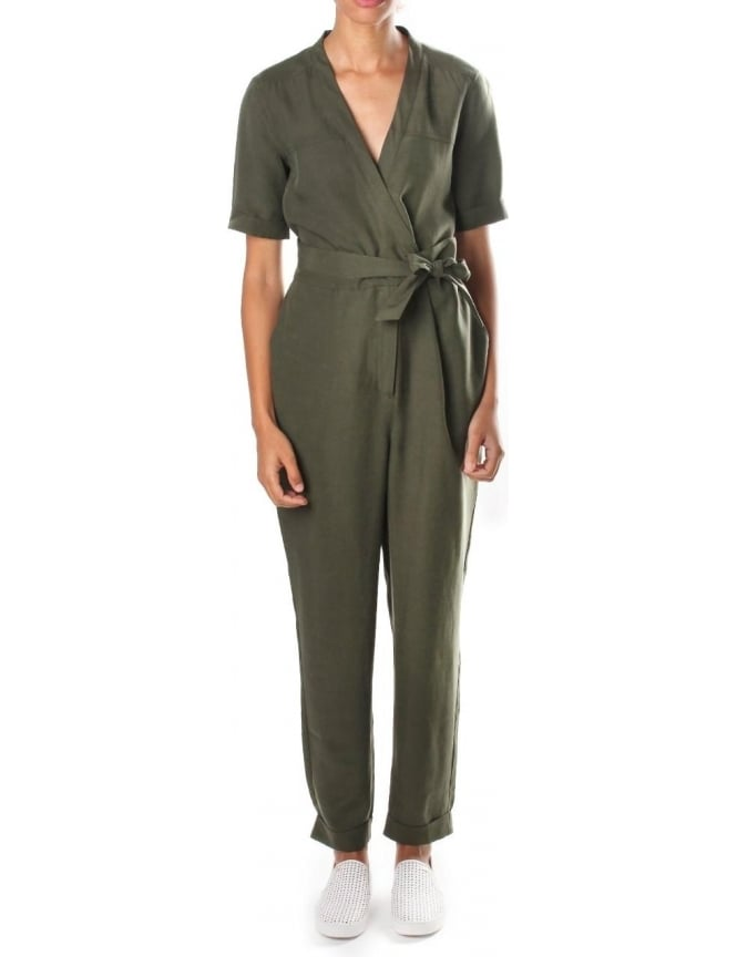French Connection Tencel Trooper Women's Short Sleeve Jumpsuit Dark Olive