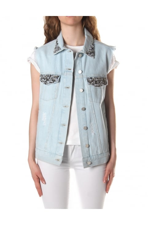 Women's Essien Sleeveless Denim Trucker Waistcoat