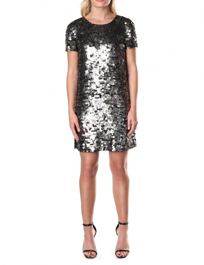 French Connection Women's Moon Rock Sparkle Short Sleeve Round Neck Dress