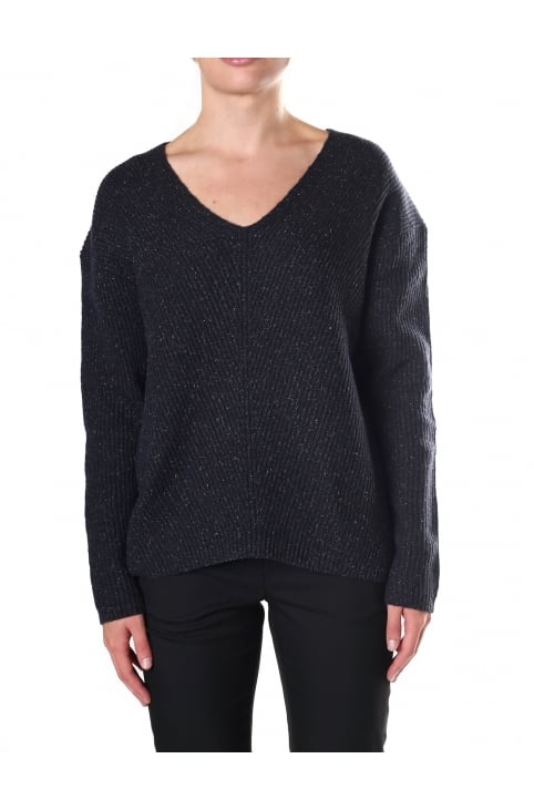 Women's Two Tone Tweed Knit V Neck Jumper