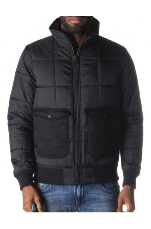 A-Crotch Men's 3D Slim Padded Bomber Jacket Black
