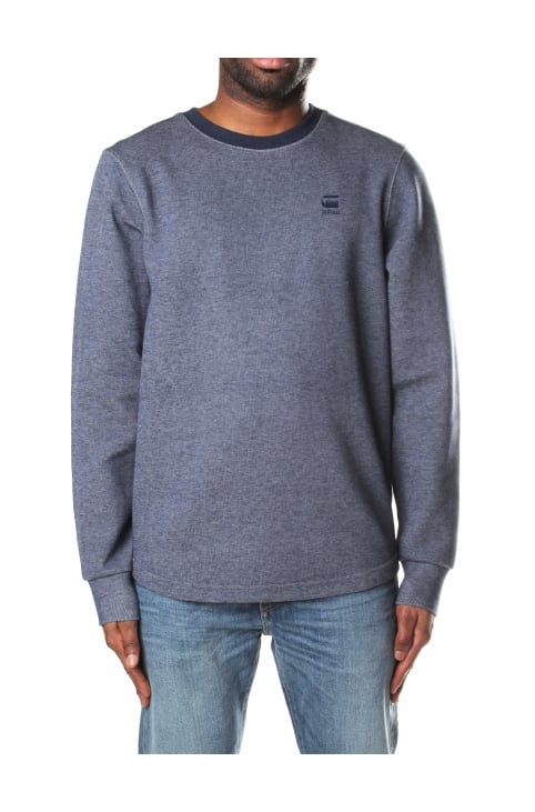 Calow Zip Men's Sweat Top Dk Police Blue/Milk