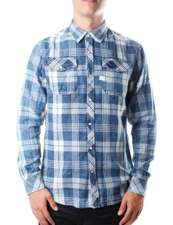 844036c26db G-Star Raw Landoh Men's Check Shirt Indigo