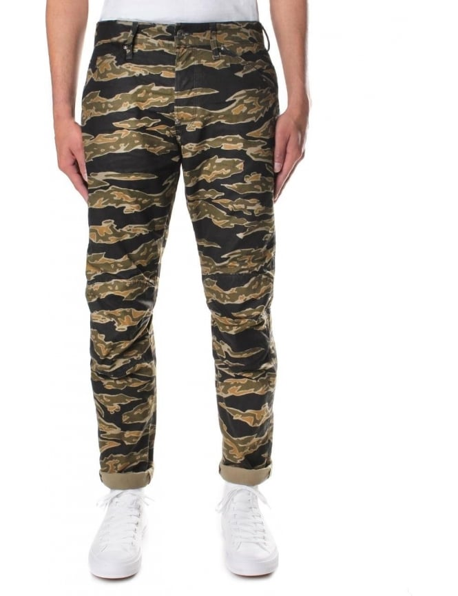 G-Star Raw Men's Elwood X25 Lucas Canvas 3D Tiger Camo Tapered Jeans