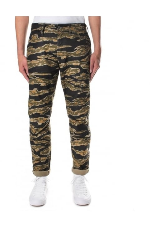 Men's Elwood X25 Lucas Canvas 3D Tiger Camo Tapered Jeans