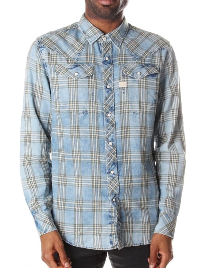 G-Star Raw Men's Tacoma Sodo Flannel Check Long Sleeve Shirt