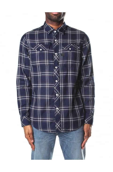 Tacoma Deconstructed Men's Slim Shirt Dk Indigo/Milk Check