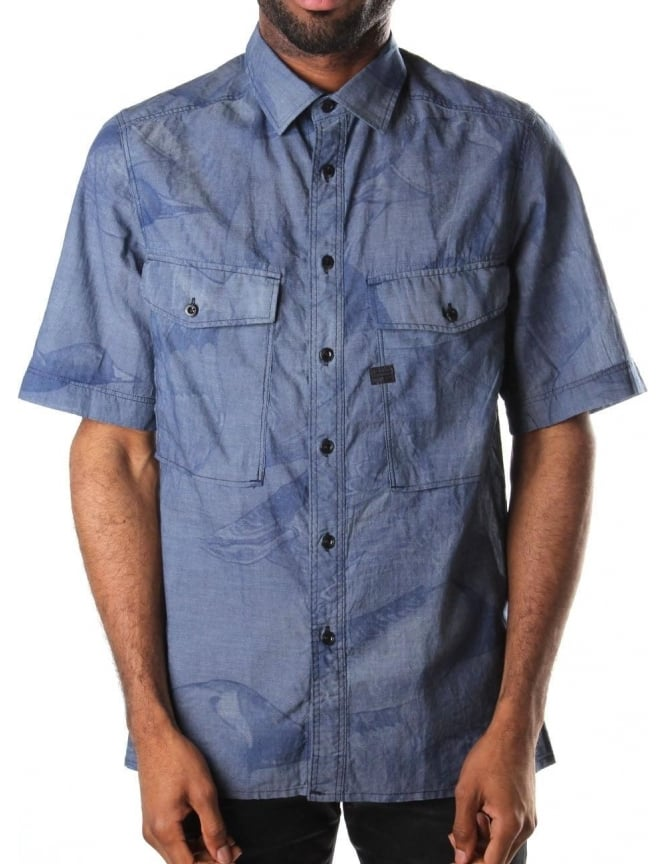 G-Star Raw Type C Straight Fit Men's Short Sleeve Shirt Rinsed