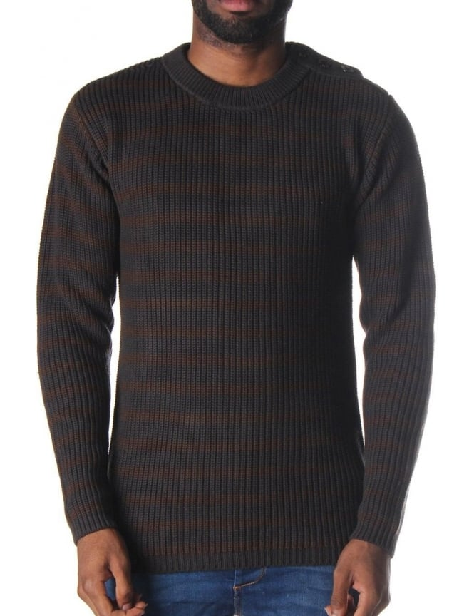 G-Star Raw Wairdon Men's Knitted Stripe Jumper Raven