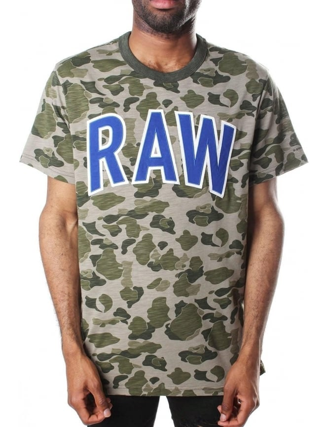G-Star Raw Warth Jisoe Men's Jersey Beach Camo Short Sleeve T-Shirt Sage