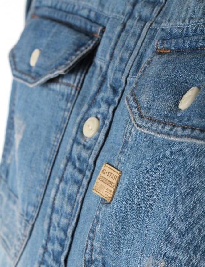 f6087ed123 G-Star Raw Wolker Light Weight Craser Men s Denim Long Sleeve Shirt ...