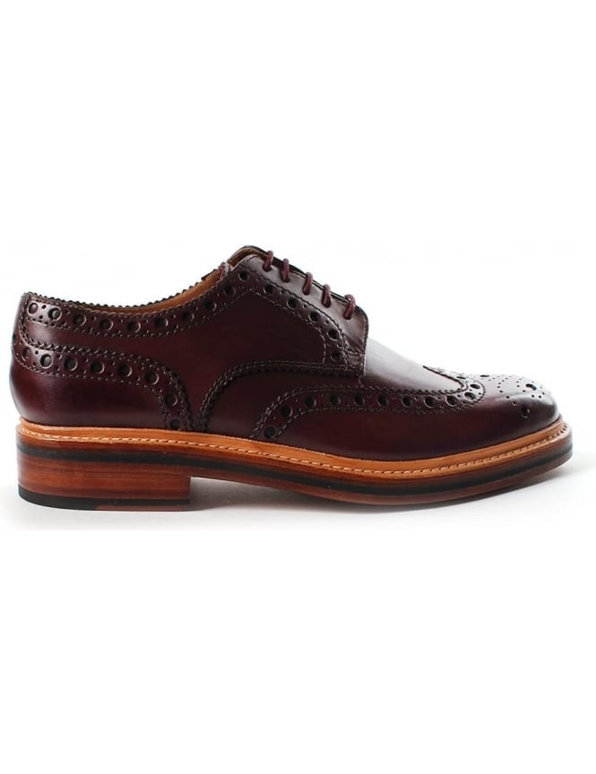 Grenson Archie Full Brogue Wingcap Men's Derby Shoe Burgundy