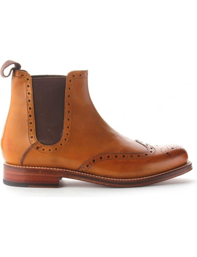 Grenson Jacob Punched Wingtip Chelsea Boot Tan