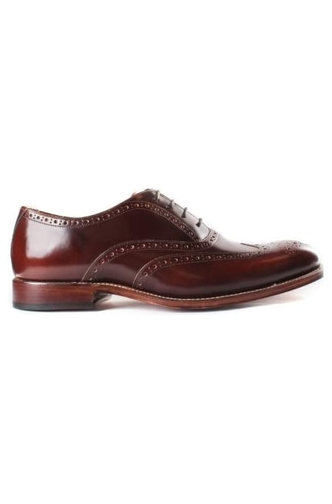 Men's Luther Brogue Shoe Black Honey Hi Shine