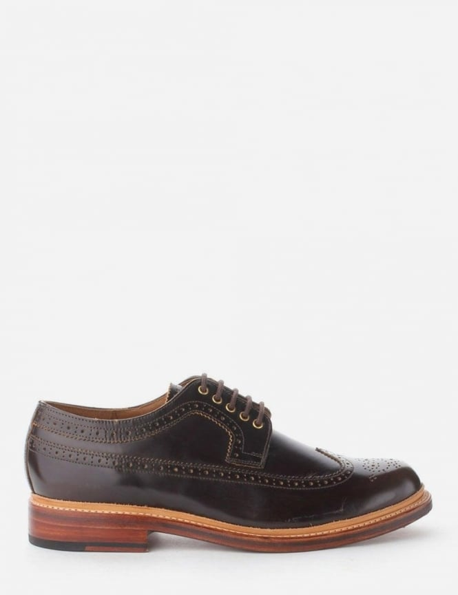 Grenson Sid High Shine Men's Long Winged Brogue Shoes Brown