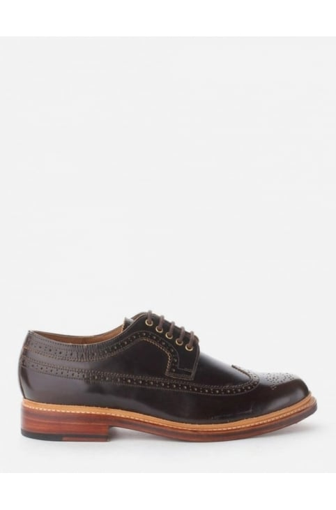 Sid High Shine Men's Long Winged Brogue Shoes Brown