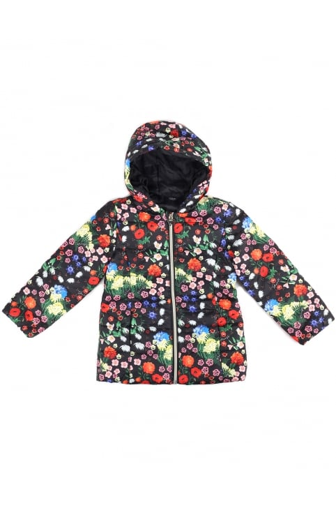 Girls Floral Hooded Jacket