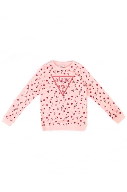 Girls Floral Print Logo Sweat