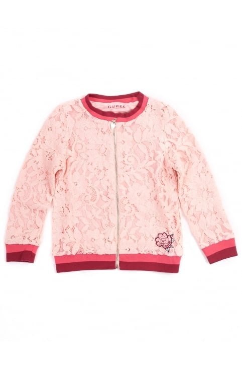 Girl's Lace Bomber Jacket