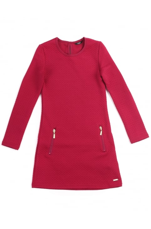 Girls Quilted Long Sleeve Dress