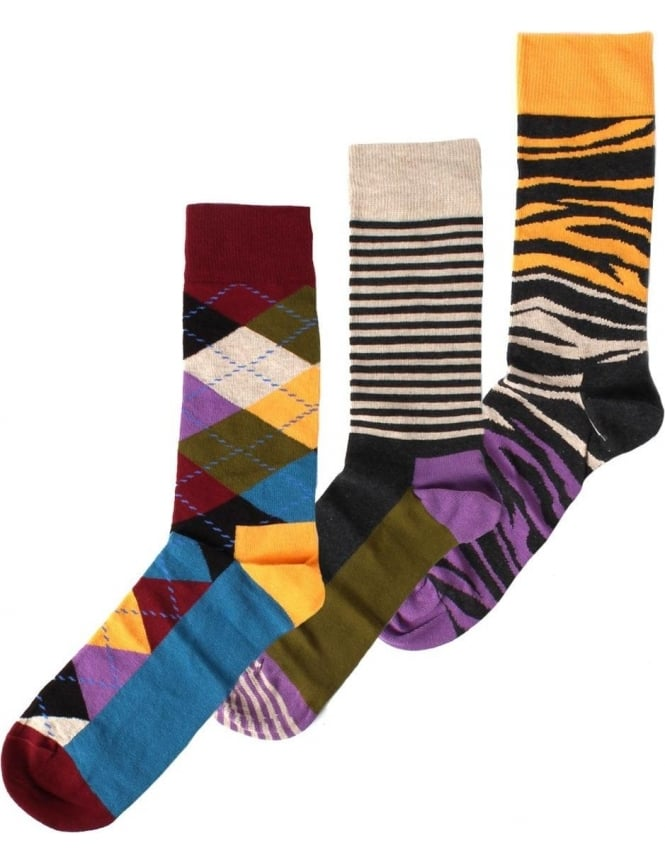 Happy Socks Camo Men's Pre Pack Socks Assorted