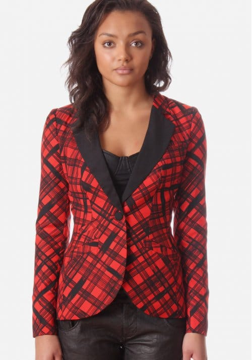 Plaid Print Blazer Womenu0026#39;s Jacket Red And Black