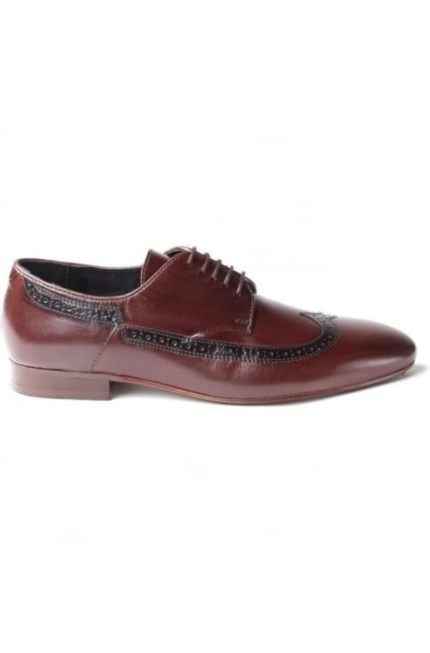 Olave Men's Punch Pattern Long Wing Brogue Brown