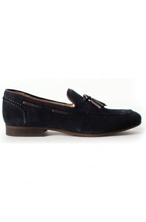 Pierre Tassle Detail Men's Suede Loafer Navy