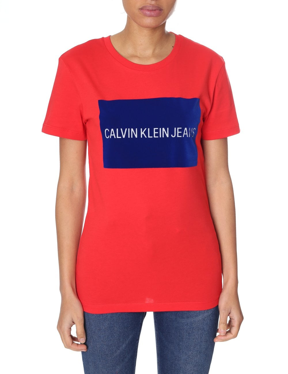 52ac5969d525 Calvin Klein Women's Box Logo Regular Fit Tee