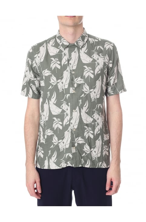Bartosz Men's Short Sleeves Leaf Shirt