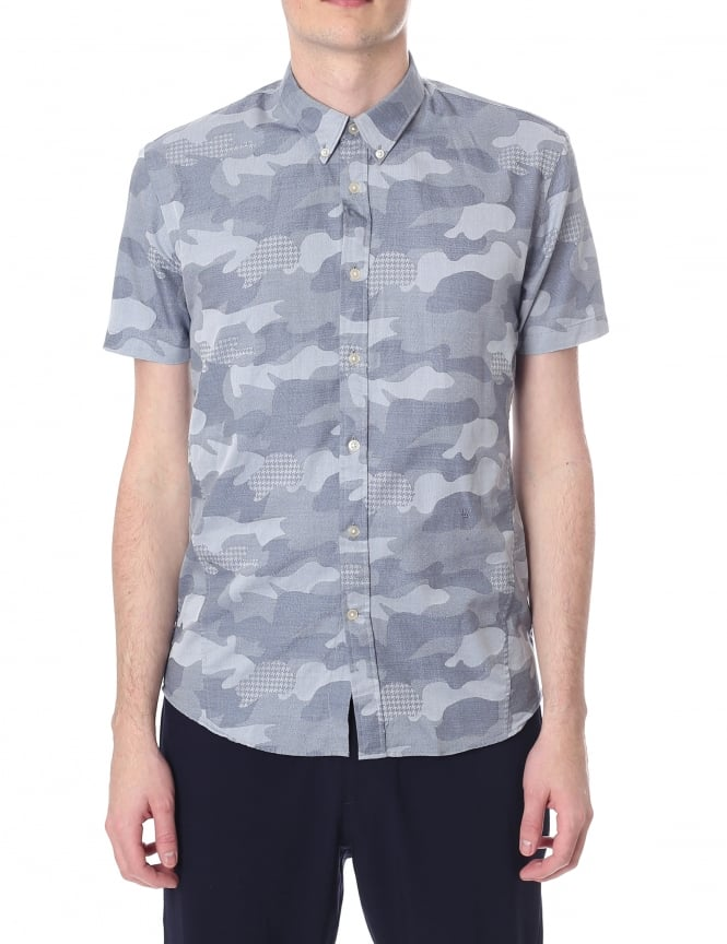 Junk De Luxe Masiej Men's Short Sleeve Camo Shirt