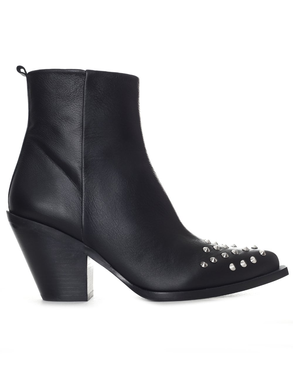 Women s Tex Studded Toe Block Heel Boots Black 948525ddbe