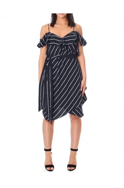 Women's Pinstripe Ruffle Dress
