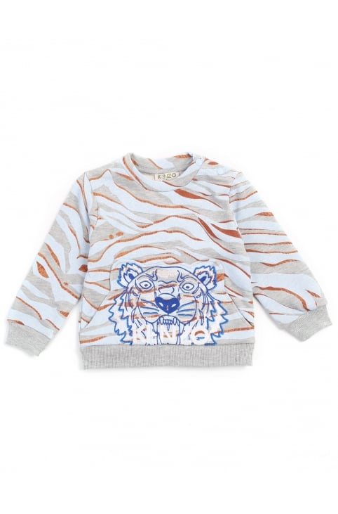 Boys And Baby Crew Neck Tiger Stripes Sweat