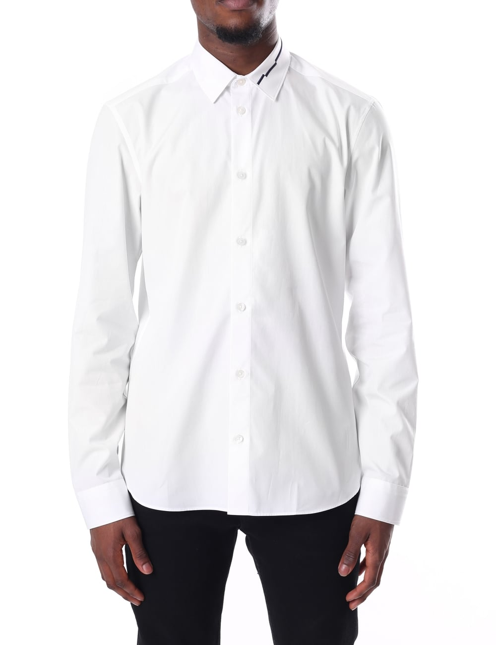 Kenzo Mens Long Sleeve Embroidered Collar Slim Fit Shirt
