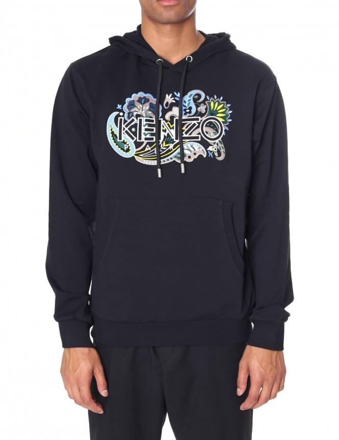 Kenzo Men's Long Sleeve Embroidered Pullover Hooded Sweat Top