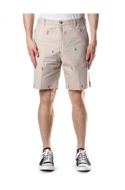 Men's Mini Cartoon Slim Fit Shorts Beige