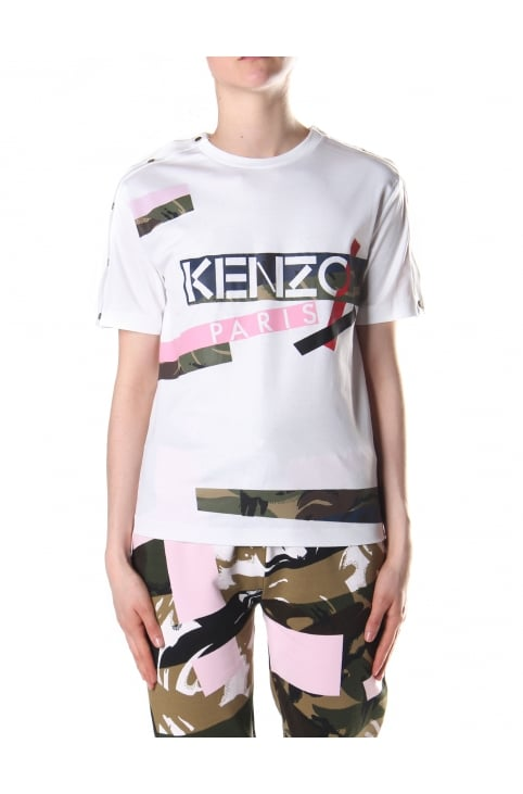 Women's Broken Camo Tee White