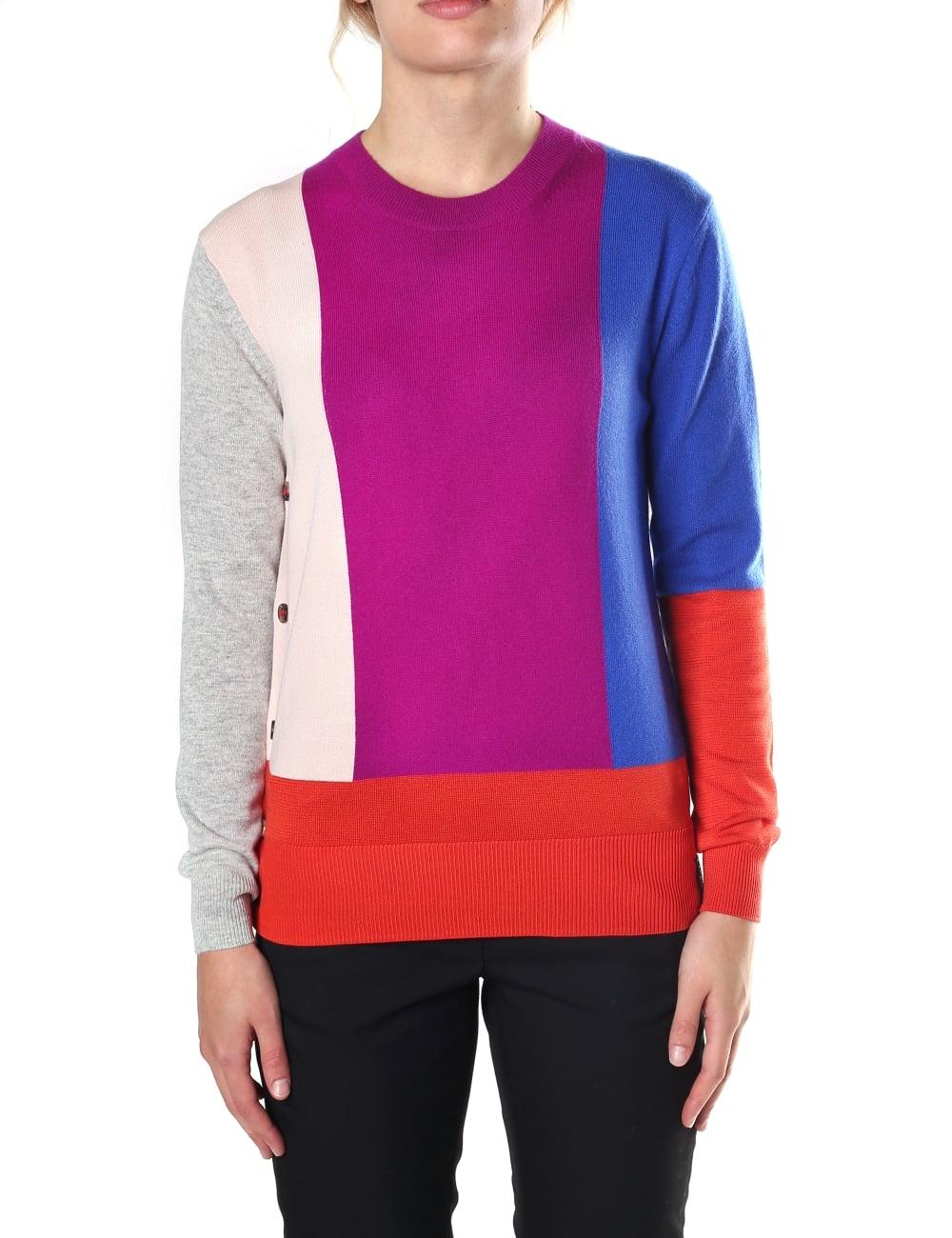 5b8c8f098bc32 Kenzo Women s Colour Block Crew Neck Buttoned Sweater