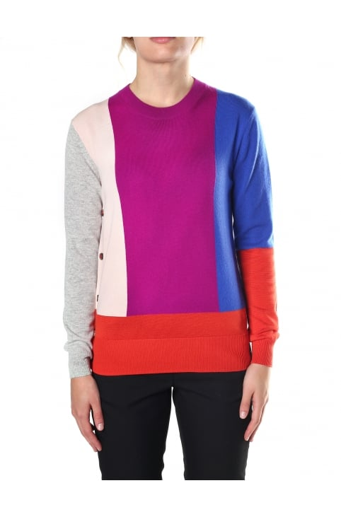 Women's Colour Block Crew Neck Buttoned Sweater